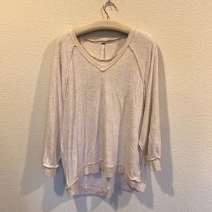 Free People oatmeal inside out pullover sweater